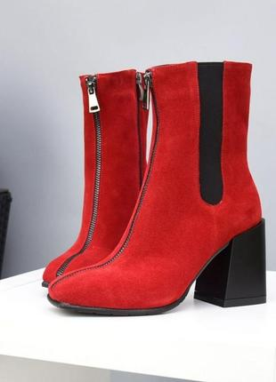 Ботинки черевики замш замша красные 35-40