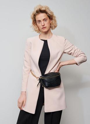 Стильное пальто осень демисезонное пудра розовое