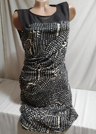 Платье миди принт с драппировкой с боку