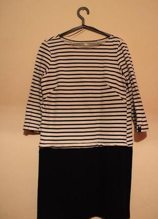 Платье зара тельняшка  новое чёрное белое миди сини