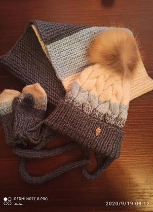 Шапка+варежки+шарф