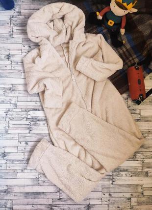Кигуруми пижама теплый уютный с мехом плюшевый капюшон с ушками marks and spencer