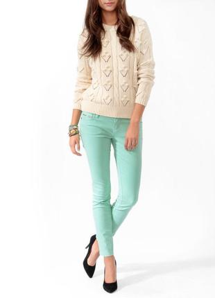 Мятные джинсы скинни узкачи xs