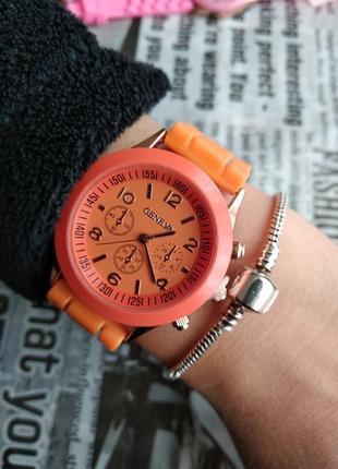 Часы наручные женские силиконовые оранжевые годинник