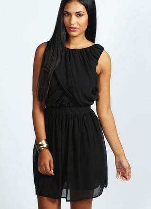 Шифоновое чёрное платье новое классическое boohoo