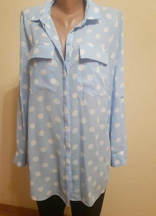 Блуза рубашка удлиненная туника  принт горох