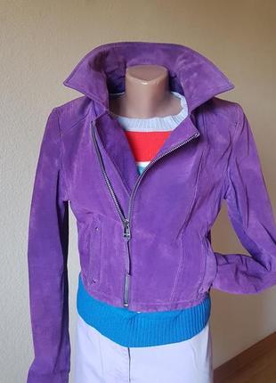 Укороченная куртка косуха замш натуральный