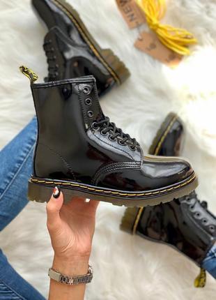 ❤ женские черные лаковые осенние демисезонные ботинки dr. martens 1460 lacquer  ❤
