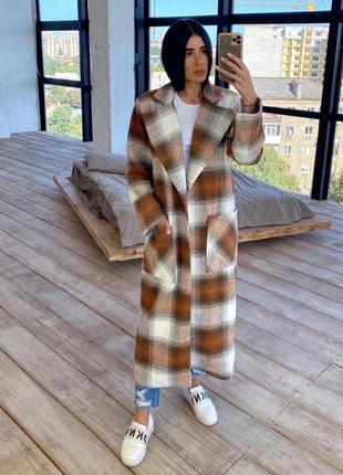 Пальто женское кашемировое на подкладке в клетку