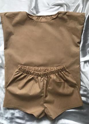 Трендовая пижама стильного цвета капучино
