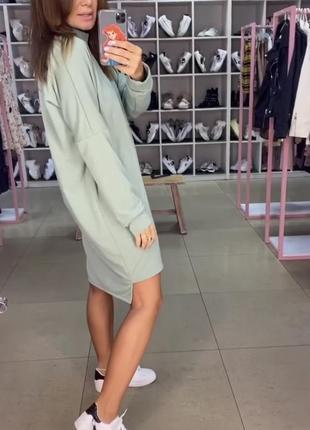Красивое фисташковое платье трикотажное