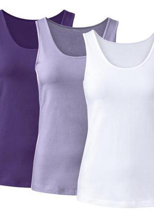 Набор 3 штуки базовые майки на широких бретелях esmara- цена за набор