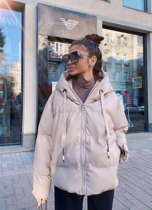Куртка із кожзама в стилі zara