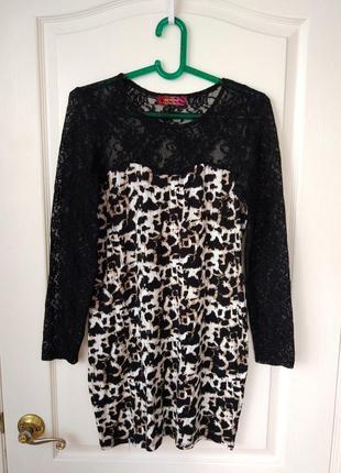 Платье - футляр с кружевными рукавами #леопардовыйпринт сток