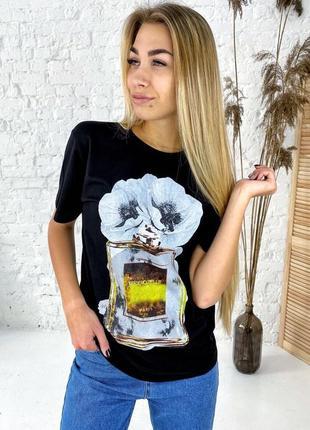 Трендовая футболка парфюм хлопок. футболка принт цветы  духи