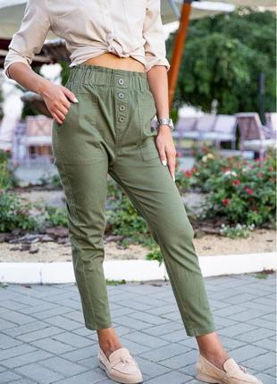 Женские брюки на пуговицах хаки хлопок 25;26;29;30