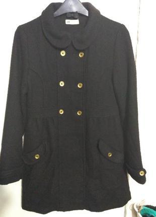 H&m черное демисезонное пальто на рост 158