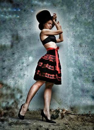 Бархатная винтажная юбка valentino миди ярусная в полоску с рюшами винтаж