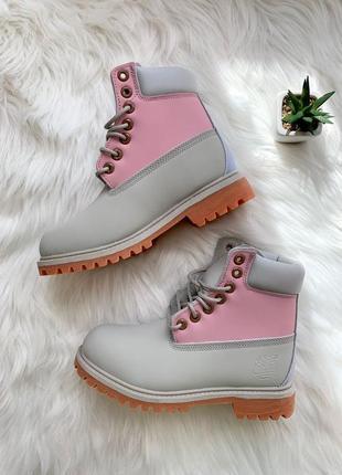 Женские ботинки осень timberland pink grey