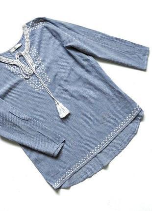 Качественная хлопковая синяя рубашка-блуза в узкую белую полоску