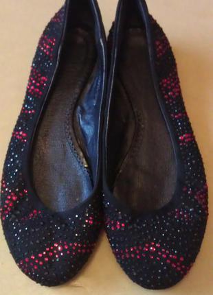 Замшевые балетки со стразами, туфли на низком ходу grado