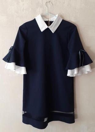 Платье сарафан школьная форма для девочки 7 8 9 10 11 лет сорочка рубашка блуза блузка