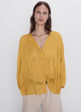 Шикарная вышитая блузка блуза zara горчичная свободная сорочка вишита
