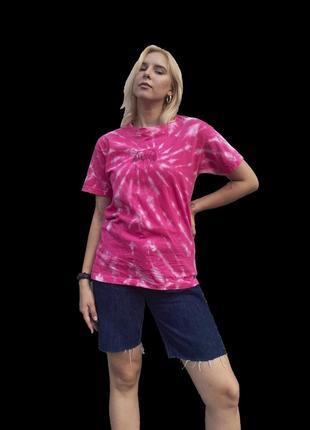 Футболка унісекс жіноча чоловіча акрил ручна робота вибілювання (004 pink bite) розмір м l