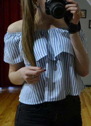 Ніжна блуза з відкритими плечима, топ у полоску, кроп-топ, 100% хлопок, розміри m,l