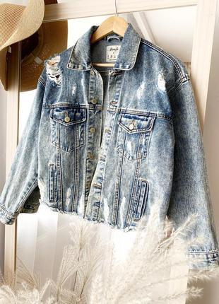 Куртка джинсовая с рваним низом