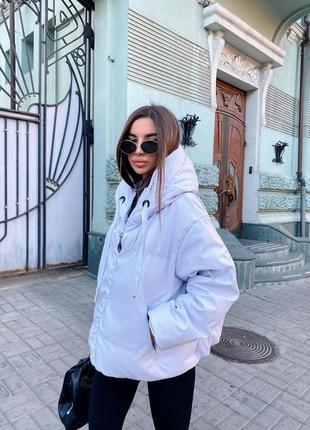 Куртка пуховик из эко кожи