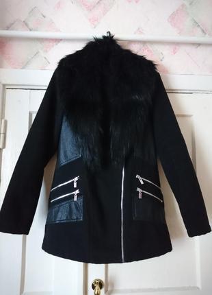 Пальто с кожаными вставками, натуральный кашемир