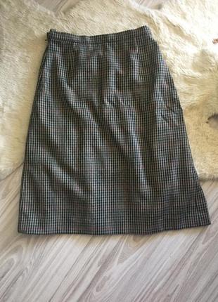 Burberrys  шерстяная винтажная серая юбка миди плиссе в клетку