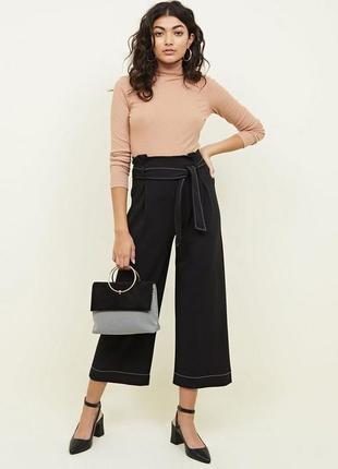 Крутые черные брюки кюлоты с высокой талией и поясом new look