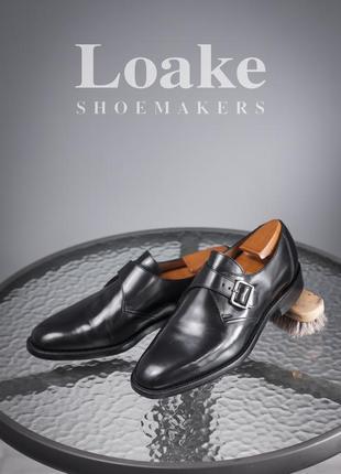 Монки loake, англия 42р мужские кожаные туфли черные