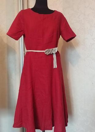 Льняное платье лен бордо марсал