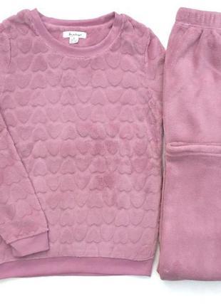 Фирменная розовая флисовая женская пижама primark love to lounge