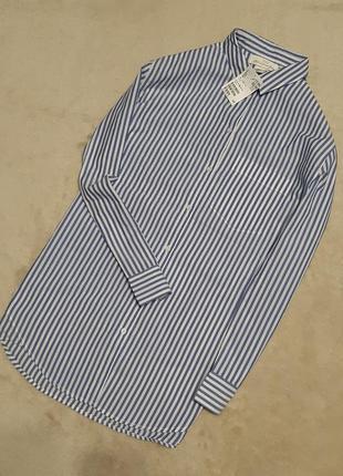Новая с этикеткой рубашка хлопок в полоску свободная прямая длинный рукав размер 10-12 h&m