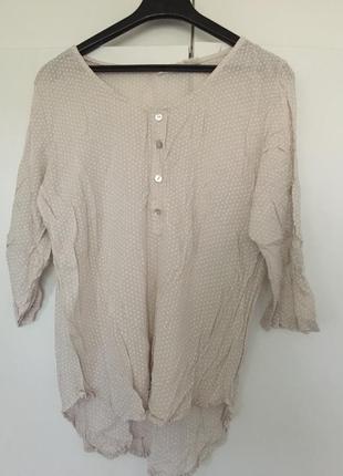 Легкая итальянская рубашка блуза в горох