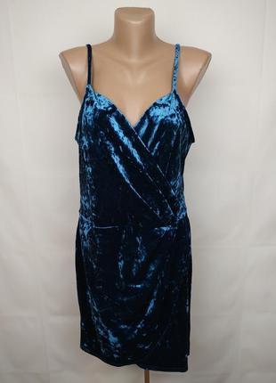 Платье велюровое шикарное на запах new look uk 16/44/xl