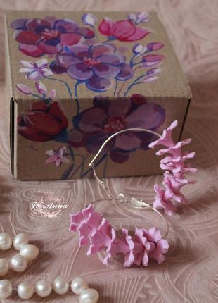 Розовые серьги кольца ручной работы. оригинальный подарок девушке в подарочной коробке