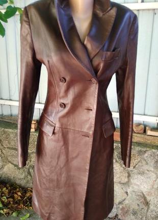Кожаный пиджак тренч куртка