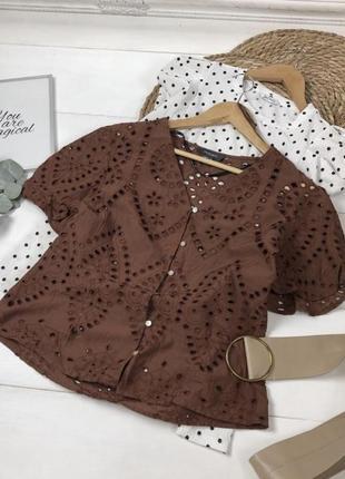 Шикарная хлопковая блузка блуза из прошвы с вышивкой рукава фонарики