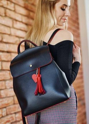 Молодежный сумка-рюкзак черный с красным, из искусственной кожи высокого качества
