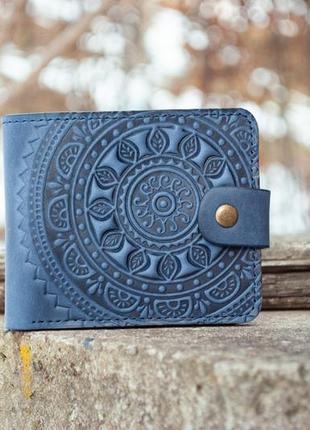 9 отделений. синий кожаный кошелек с тиснением солнце