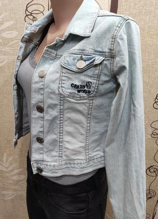 Crazy world голубая джинсовая куртка, джинсовка на рост 146/152 см