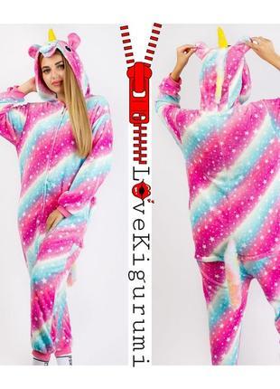 🎁подари тепло❤супер комфортные пижамы кигуруми единорог застёжка молния