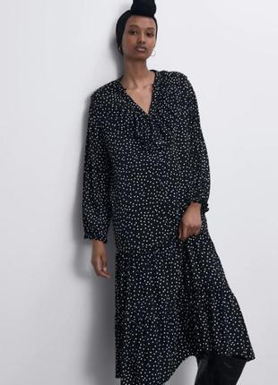 Платье zara в горошек черное