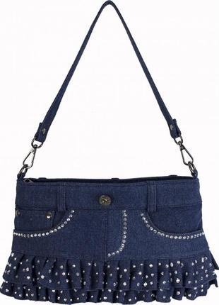 Джинсовая, нарядная  небольшая сумочка