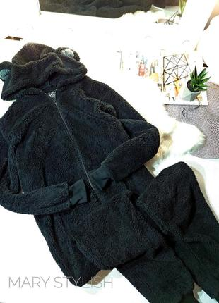 Черный очень теплый слип мишка